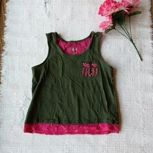 Justice • Girls Lace Pink & Green Tank